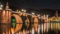 The Old Bridge in Heidelberg - Die Alte Brücke in Heidelberg (ralfkai41) Tags: nacht night architektur nightshot bridge wasser nachtfotografie oldbridge flus lights hdr lichter mirroring river brücke water spiegelung architecture reflexion reflektion neckar altebrücke heidelberg