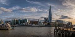 River Thames Panorama (James Waghorn) Tags: topazclarity hmsbelfast spring thames sigma1750f28exdcoshsm d7100 river urban water london city boat panorama toweroflondon theshard clouds nikon england