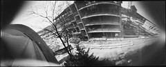 The Arch, May (batuda) Tags: pinhole obscura stenope analog analogue can coffee bon coffeecan film ortho orthochromatic photocopy 9x21 bw blackandwhite largeformat wide wideangle architecture house building construction street sky tree trees spring may arka arch spaustuvininkų karaliausmindaugo kaunas lithuania lietuva lochkamera