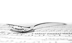 playing (with) chopin (brescia, italy) (bloodybee) Tags: 365project sheetmusic music notes pentagram chopin spoon steel metal reflection bw white stilllife sheet paper highkey number nocturne cutlery