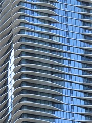 Chicago, Aqua Tower (Architect: Jeanne Gang) (Mary Warren (8.8+ million views)) Tags: chicago urban blue architecture building condominium highrise condotower windows balconies abstract aquatower jeannegang lines curves