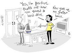 Drop your old hard drive off for secure shredding and save your kitchen gear! (ist_atmit) Tags: cartoon comic humor couple hard drive hdd security kitchen grater