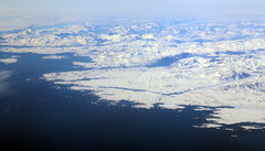 2017_05_09_muc-sfo_340 (dsearls) Tags: windowshot 20170509 flying aviation windowseat aerial white brown blue greenland vestgrønland ice glaciers rock bare desolate