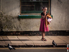 Girl and Pigeon (BigRedTroll) Tags: animal architecture bird candid canon child color cute distracted g10 girl nature people pigeon pink portrait pretty street streetphotography structuralelement structure thoughtful urban wall young youth
