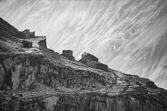 The Terraces (ShrubMonkey (Julian Heritage)) Tags: dinorwic slate quarry ruin derelict abandoned decay desolate snowdonia mountains wales industry spoil slag heap waste sonyalpha mono bw terraces