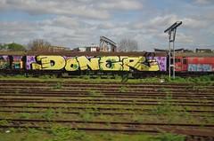 Doner (JOHN19701970) Tags: doner train graffiti graff aerosol apray paint wembley london freight wagon steel rail wholecar fr8 runner traingraffiti april 2017 england uk hot4u artist track tracks