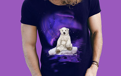 Northern Lights Polar Bear (Beverly & Pack) Tags: auroraborealis northernlights polarbear bear stars extinction endangered species animal wildlife mammal colorful purple arctic antarctic ice iceberg inuit arcticocean scientist glacier landscape science nature scenic tshirt tee shirt clothing forsale purchase support white pink blue reflection extinct art water artic