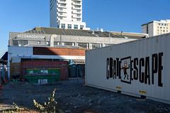 Dancing Man (Jocey K) Tags: newzealand southisland canterbury christchurch buildings architecture sky shippingcontainer words cbd nikond750