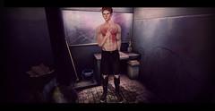 """cнecĸ yoυrѕelғ, вeғore y'all wrecĸ yoυrѕelғ"" (мarveloυѕ creaтιonѕ) Tags: second life midnight glory toilets mirror cracked bad luck bin dirty nasty roleplay sim mop bucket water grunge cool dude bruh bro bathroom"