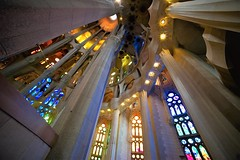 Sagrada Familìa (eleonoralbasi) Tags: sagrada familia barcelona spain españa europe travel church cathedral architecture buildings inside colors light column geometry lines samyang gaudì