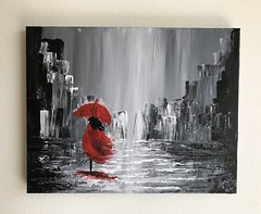 The woman with the red umbrella (Scarlet_Lily) Tags: knife painting black white red umbrella woman rain city cityscape