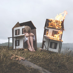 MOGI_O (thewickedend - Nicolas Bruno) Tags: nicolas bruno art sleep paralysis sleepparalysis self portrait dollhouse fire depression field dark nightmare dreams dream fog overcast 365