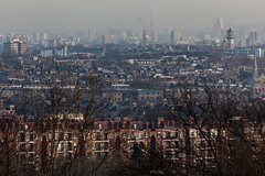 From Parliament Hill (Gary Kinsman) Tags: skyscraper 2016 london nw3 hampstead hampsteadheath parliamenthill canon5dmkii canoneos5dmarkii canon70300mm telephoto zoom compression skyline tower highrise architecture haze wealth inequality construction cranes development towerblocks socialhousing councilestate