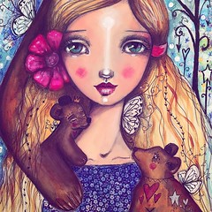 Detail of my #everafter2017 fairytale lesson! My story is Goldilocks and the 3 Bears. I'm transforming my 3 bears into noble compassionate bears that look after Goldi. :) sign up to this class opens on May 17th! :) #willowingarts #willowing #mixedmedia #f