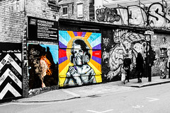 street ladies stride-by (PDKImages) Tags: londonstreetart london shoreditch shoreditchstreetart graffiti art wallart contrasts streetscenes urbanart colours