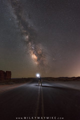 Hitchhike To The Galaxy (Mike Ver Sprill - Milky Way Mike) Tags: hitchhike hitch hike galaxy milky way mike versprill michael ver sprill astrophotography astronomy alone solitude man light sphere selfie self portrait night sky midnight explorer road valley fire state aprk park nevada las vegas overton yellow lines highway asphalt pavement travel adventure spring nikon d800 1424 ioptron star tracker starry landscape stacker nature