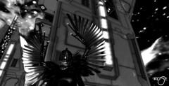Mechanical Crow (bw) (***ROSE***) Tags: sl secondlife girl sexy base space spatial balck white mechanical crow gacha lemporio stellar orbital