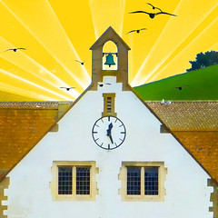 The Church Bell (Lemon~art) Tags: church clock bell roof countryside birds naive windows colour sunshine manipulation yellow bright sun sunrays spring happy smile simplicity childlike happiness