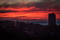 Capetown Sunset (armct) Tags: silhouette crane church apartments suburb capetown clouds threeanchorsbay rooftop streetlights southafrica mainroad gloaming harbour nikon d810 80400mm