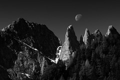 The soul (George Pancescu) Tags: nikon d810 70200mm bucegi massif romania mountain acelemorarului landscape nature moon blackandwhite monochrome light rocks peaks outdoor natural