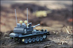 """No sir, that's a friendly"" (Connor Querin) Tags: lego tank light afv cvrt scimitar outdoors brickmania track links tracked vehicle suspension 135 queens royal lancers british army"
