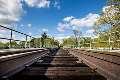 One Way (marc.tucci) Tags: urbanexploration train traintracks tracks sky clouds summer rail bridge heights photography picture toronto canada