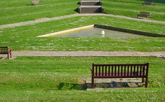Steps and Benches (Dave Roberts3) Tags: wales valeofglamorgan coldknap theknap barry daisy daisies grass water fountain pavement paths bench shadow steps stair green citrit