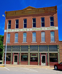 Taft-Wiley, Mt. Pleasant, IA (Robby Virus) Tags: mtpleasant mountpleasant iowa ia taftwiley sign signage heating plumbing 1886 building architecture
