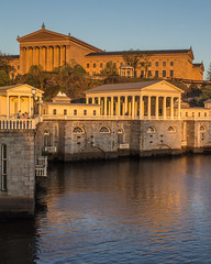 Art Museum and Waterworks at Sunset (Oleg S .) Tags: pennsylvania philadelphia schuylkill architecture civicarchitecture flickr museum reflection river sunset water