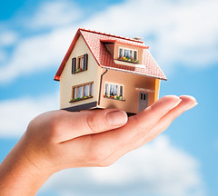 House in human hands (masterbitinsurance) Tags: house home hand real estate mortgage investment residential loan business construction concept human buy structure new model small finance insurance agent selling family holding sale architecture property architect build rent conceptual construct savings purchase ownership background blue sky russianfederation