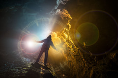 The Arrival (neil rushby photography) Tags: light painting lightpainting mage magician wizard spells spellcaster afterdark creative creativephotography art artistic surreal dream dreamlike godox silhouette supernatural lens flare bright reflective cave orange blue split force ethereal fantasy fantastical