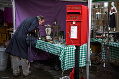First Class Antiques (Silver Machine) Tags: winchester hampshire streetphotography street candid man antiques antiquestall streetstall postbox royalmail dummy standing streetmarket outdoor fujifilm fujifilmxt10 fujinonxf35mmf2rwr