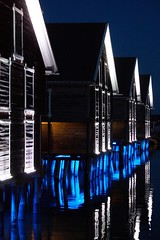Boathouses in evening light (aggeji) Tags: fs170423 morkerfotografering fotosondag blue sea boathouse evening spegling reflection