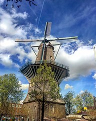 Windmill (El Cheech) Tags: antique dutch alcohol beer brewery architecture history eurotrip europe amsterdam netherlands clouds sky windmill