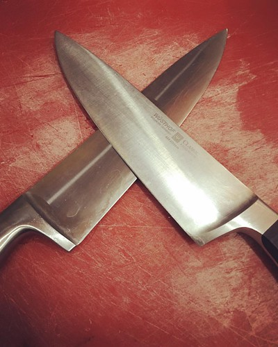 2 of the 3 knives in my station, each with her own specific purpose. always clean, sharp and ready  #wusthof #knife
