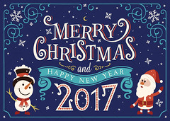 2017 Happy New Year. Greeting card, Christmas card with Santa Cl (azat1976) Tags: christmas card background xmas fun winter decor gift retro cartoon tree decoration 2017 holiday season present greeting friends decorated symbol celebrate festive character celebration funny santaclaus newyear merry december congratulation vintage party ornaments pattern santaclause snowman snowflake