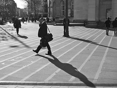 Shadows on the square. (steveo7121) Tags: shadows blackandwhite streetphotography manchester stpeterssquare lines em5 olympus