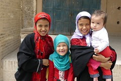 Kids in the Old town  of Yazd, Iran (Sekitar) Tags: iran persia kids portrait girls old town yazd earthasia