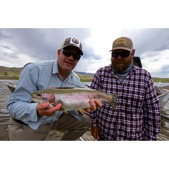 TRFS shop foreman @bigcountryeric and guest with another victim. @scottflyrods @costasunglasses @simmsfishing @clackacraftdriftboats #northplatteriver #flyfishing #fishwyoming