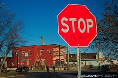 Stop the Boys (djhsilver) Tags: thunder bay simpson street simpsonstreet storefronts firehall fire station apartments renovation stop sign graffiti