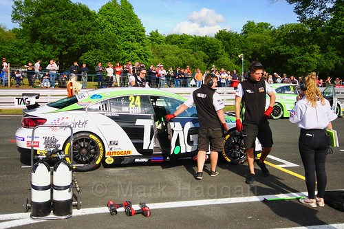 Jake Hill on the grid before the third BTCC race at Oulton Park, May 2017