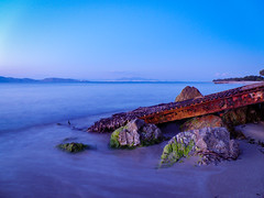 Blue Hour (Tassos Giannouris) Tags: blue hour kos greece long sunset seascape waves water rocks rusty sky set exposure sea
