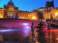 Floozy in Jacuzzi..Fountain. Victoria Square..year 2012 (Manoo Mistry) Tags: birmingham floozy in jacuzi birminghamuk birminghampostandmail fouintain night nightscene colourful water steps statues council house birminghamcouncilhouse floozyinjacuzzi