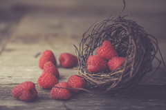 Raspberries (jm atkinson) Tags: raspberries basket wooden table macro still red rustic 7dwf bokeh wednesday