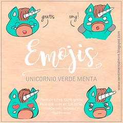 Pack de Emojis Unicornio verde menta (SentimentalMint) Tags: freebies unicornio verde menta descarga downoad emojis emoticonos freebie gratis pack png