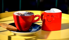 Morning Coffee (Clare-White) Tags: morning light red cup yellow smile jug shade closeup outside coffee happy reflection biscuit supershot