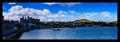 Conway Castle (Kev Walker ¦ From Manchester) Tags: architecture beautiful boats britishculture building canon1100d canon1855mm colorfull conway conwaycastle hdr historical northwales panorama panoramic photoborder postprocessing riverconway castle water sky clouds