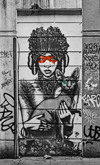 masked cat lady contrasts (PDKImages) Tags: londonstreetart london shoreditch shoreditchstreetart graffiti art wallart contrasts streetscenes urbanart colours