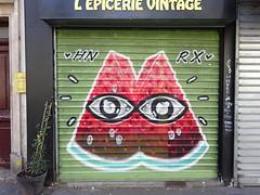 HNRX : rideau métallique de l'Epicerie Vintage (Archi & Philou) Tags: rideaumétallique shutter pastèque fruit hnrx graffiti streetart paris20 magasin fermé closedshop closed épicerie