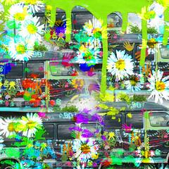 Too much caffeine! (Lemon~art) Tags: van vehicle old treatthis kreativepeople paint hands drips ott brushes daisies splashes